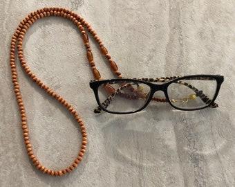 Wood Beaded Glasses Lanyard