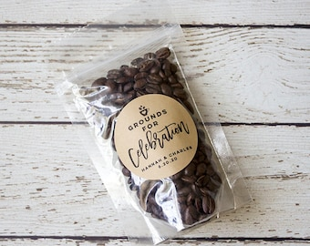 Wedding Coffee Favor Bag and Label, Personalized Wedding Coffee Favors, Grounds For Celebration Coffee Label and Bag, Set of 24, 36
