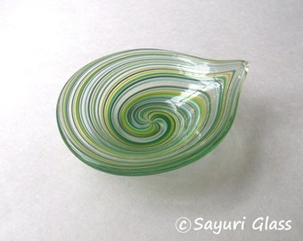 Mini Dish - Assorted Green Stripe Leaf Shape : DISASTER RELIEF