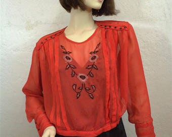 On Sale! 1920's Orange Red Silk Blouse / Embroidery / Size: Small to Medium