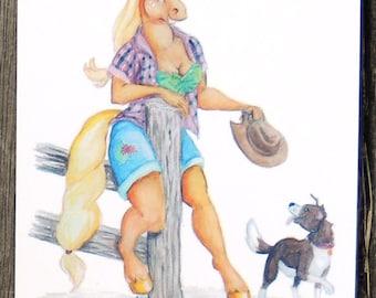 My Little Pony 1950's Pin Ups Applejack Postcard
