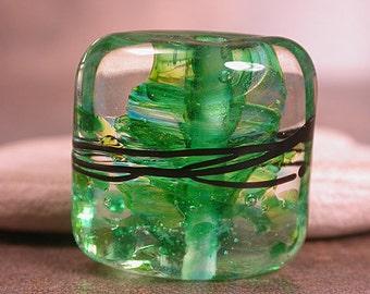Glass Focal Bead, Lampwork Square Nugget, Lampwork Focal, Divine Spark Designs, SRA