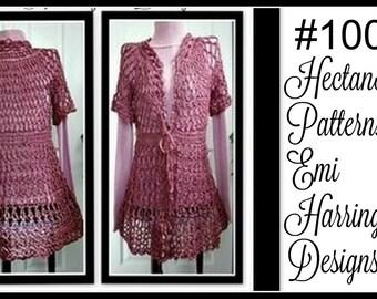 Crochet PATTERN- Long rose vest- teens to women, plus size, #1001, crochet for women, crochet for teens, shrugs, jackets, sweater, cardigan
