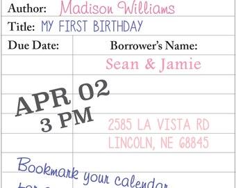 Library Card Invite Digital File