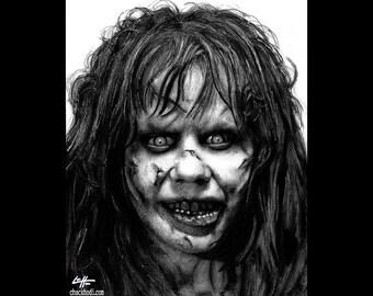 "Print 8x10"" - Regan MacNeil - Exorcist Horror Vintage Classic Dak Art Creepy Scary Priest Gothic Serial Killer Evil Devil Girl Surreal Pop"
