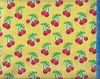 Cherries (Yellow Polka Dot) Fabric, Quilt or Craft Cotton Fabric