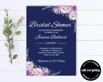 Navy Blue Floral Bridal Shower Invitation Template - Bridal Shower Invite - Printable Invite Wedding Shower - Printable Bridal Invitation