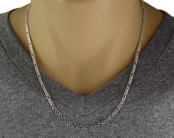 """Men's 925 Sterling Silver Figaro Chain Necklace - 080 Gauge 3 mm - 20""""/22""""/24"""""""