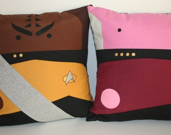 Star Trek TNG inspired Duo Worf  Captain Picard  pillow cushion cover 40x40 cm 16x16 inches