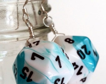 D20 Twenty Sided Dice Earrings - Teal Blue and White Swirl with Black Numbers - Geeky Gamer Jewelry