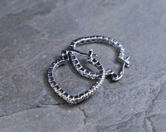 Vintage Sterling silver handmade hoops, solid 925 silver earrings with crystal around details, stamped 925