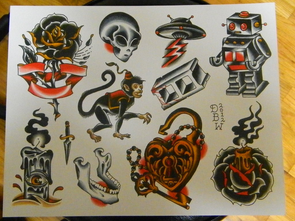neo traditional tattoo flash sheet. Black Bedroom Furniture Sets. Home Design Ideas