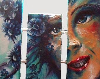 original art acrylic painting wall decor 18x36 blue floral woman 7piece gallery wrap