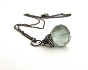Moss aquamarine necklace, March birthstone,  aquamarine pendant, oxidized sterling silver wire wrapped necklace, aquamarine jewelry