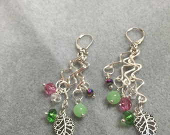 Hand formed and hammered silver plate wire charm earrings