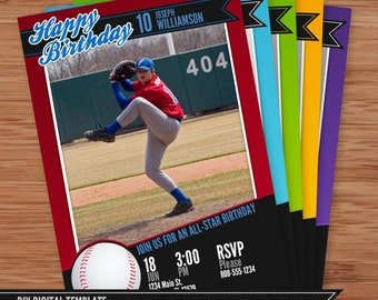 Baseball Card Birthday Invitation - 5x7 Photoshop Template for Photographers and Designers