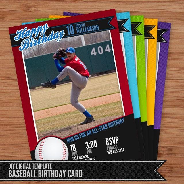 Baseball Card Geburtstag Einladung 5 x 7 Photoshop Vorlage