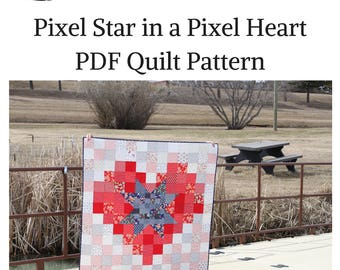 Pixel Star in a Pixel Heart PDF Quilt Pattern, Quick beginner quilt, charm square quilt pattern, fat quarter quilt pattern, Fourth of July