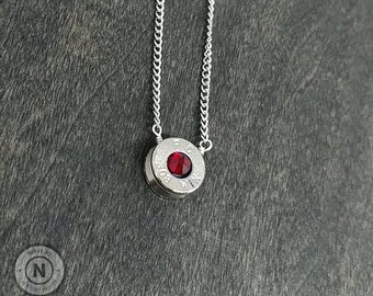 308 Nickel Plated Garnet Recycled Bullet Casing  Crystal Silver Plated Chain