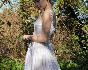 Ivory satin vintage lace wedding dress