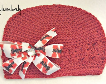 Nebraska Huskers Baby Girl Boutique Bow Crocheted Hat