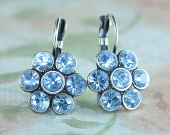 Aquamarine crystal cluster earrings,blue crystal earrings,blue earrings,aquamarine earrings,crystal cluster earrings,vintage style earrings