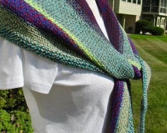 A ladies hand knit shawl, spring summer shawl, summer wrap, pashmina wrap, knit stole, lightweight shawl, striped shawl, kerchief scarfi