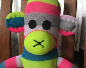 Bright, Striped Sock Monkey