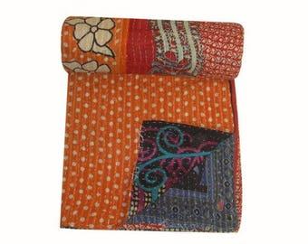 Vintage Tanseem Kantha Quilt,Vintage recycle  Kantha Quilt, bohemian Throw,kantha Blanket