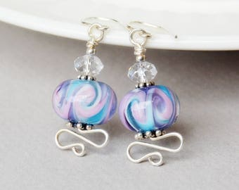 Royalty Lampwork, Crystal and Sterling Earrings - Happy Shack Designs - Handmade Lampwork Earrings - Purple and Aqua