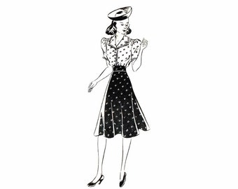 1940s Mises Midriff Flared Dress Mail Order 3035 Vintage Sewing Pattern Size 12 Bust 30 Factory Folded