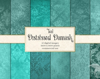 Teal Distressed Damask Digital Paper, vintage textured scrapbook paper, scrapbooking grunge textures, turquoise aqua teal instant download
