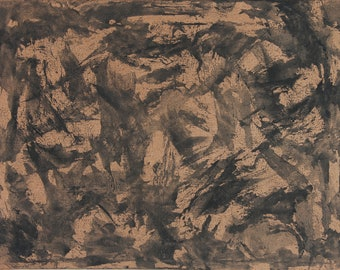 No.50 [Bronze and Black Abstract Painting]