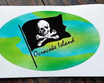 Ocracoke Island Pirate sticker Turquoise Lime green for your car, golf cart or bike UV vinyl skull