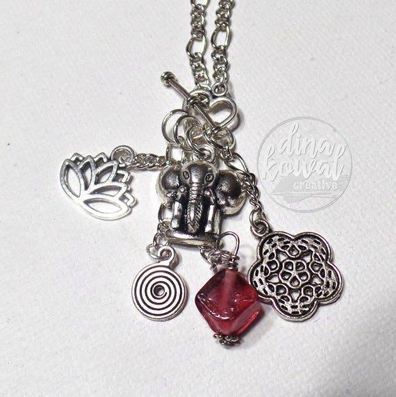 Charm Necklace - Elephant - Lotus - Mandala
