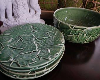 Vintage, Five Piece Borodallo Pineiro Maple Leaf Salad Bowl with Four Salad Plates