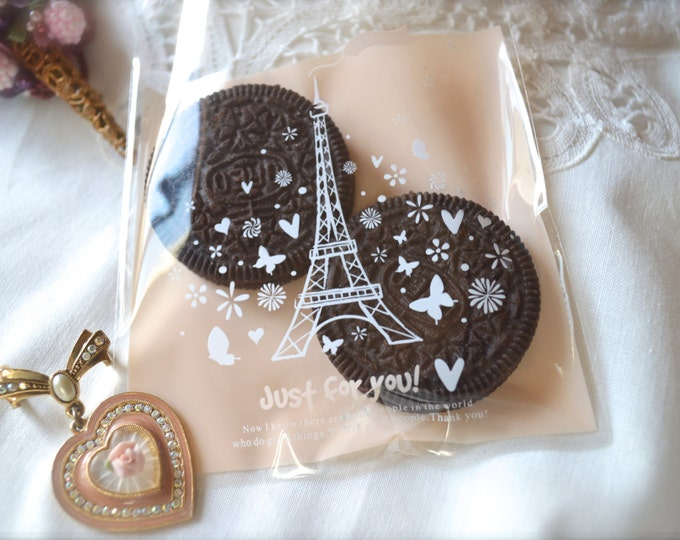 Eiffel Tower Cello Bag, Cookie Bags, Treat Favor, Wedding, Romantic, Wrapping, Product Bags, 6 bags