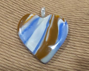 Brown and Blue Heart Jewelry, Earthy Fused Glass Pendant, Ready to Ship, Gift for Wife, One of a KInd - Romantic Intrigue - 3948 -2