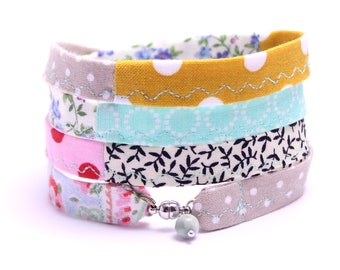 colorful bracelet to wrap handmade fabric cotton
