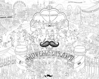 MOVEMBER Poster 36 x 24 MOVEMBERLAND, Proceeds Help Support Men's Health