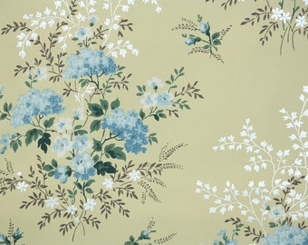 1950s Vintage Wallpaper by the Yard - Blue and White Floral on Yellow