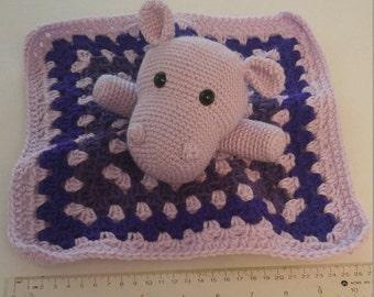 Purple Hippo Lovey Blanket