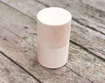 Round unfinished wooden box 60x100 mm - eco-friendly - made from alder wood