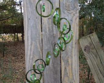 GLASS WIND CHIME from recycled bottles, green, windchime, garden decor, wind chimes, colorful , musical, home decor, mobile