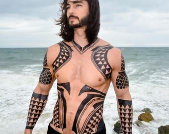 Full Torso Aqua Cosplay Tattoos