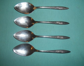 "Four (4), 7"" Stainless, Place / Oval Soup Spoons, from Imperial  International, in the Silver Dawn 1969 Pattern."