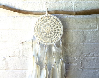 Crochet Dream Catcher, Cream Cotton Crochet, Gift Idea - 15cm - Code: A001