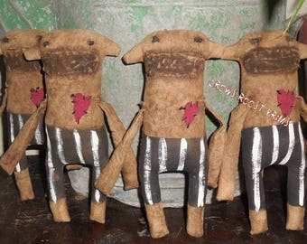Primitive, Folk Art Animal 1 Love Monkey with striped pants by Crows Roost Prims
