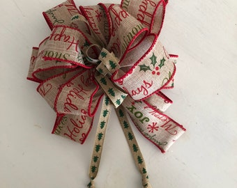 Bow-Christmas Big Bow-Burlap Bow-Tree Topper Bow