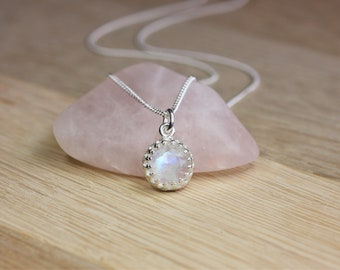 Rainbow Moonstone Pendant Necklace, Petite pendant, sterling silver